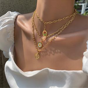 2020 Catena INS calda nuova Chic classico geometrica placcato oro metallo Daisy link Collana girocolli per le donne ragazze gioielli