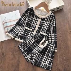 Bear Leader Girls Clothing Set New Brand Girl Clothes Long Sleeve Plaid Kids Suit Top+Pant 2pcs Elegant Children Clothing Outfit X0923