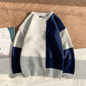 okkdey 2020Slim Fitting Crew Neck Hong Kong Style Sweater Men's Korean Version Slim Matching Color Trend Bottoming Sweater Youth