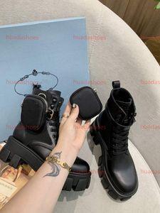 Prada Boots 여성 최대 땅딸막 한 발 뒤꿈치 부팅 뜨거운 판매 - 두꺼운 발 뒤꿈치 여성 마틴 부츠 발목 신발 진짜 가죽 부츠 소 근육 유일한 레이스