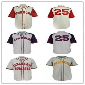 Côver 1942 Retro Kansas City Monarchs Jerseys Baseball Equipe Cinza Creme Costurado Camisa Tamanho S-4XL