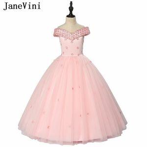 JaneVini Charming Pink Tulle Flower Girl Dresses for Weddings V Neck Appliques Beaded Ball Gown Floor Length Girls Pageant Gowns