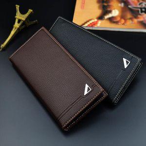 Men Long Wallets Mini Soft Purse Bag Fashion Durable Anti wear PU Card Bags For Coin Money Cards Holder 18.5x9x1.8CM