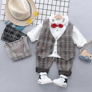 autumn winter Boys Gentleman suit kids set Baby Clothing Set for Boys Casual Clothes Set lattice Vest Top pants infant Suits
