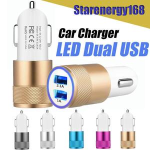 Cargador de coche 168 caliente de la aleación de aluminio 2 puertos USB universal de carga inteligente fuerte Compatible DC12-24V 2.1A Dual USB para el teléfono móvil Todos