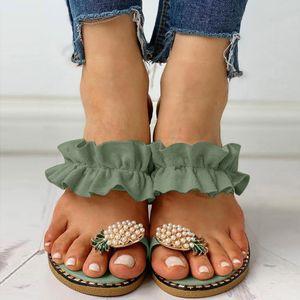 Vert Bohême Femmes Filles Perle Flat précarisés été Slip On Boho sandales de plage pour les dames romaines Chaussures 2020 Y200620