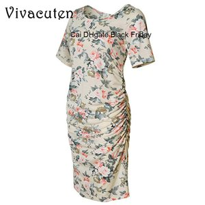 Maternity Dresses Summer Maternity Women Clothes Floral Print O-Neck Short Sleeve Pregnancy Dress Fashion Women Dress Clothes