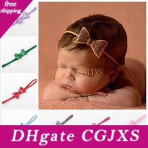 Las vendas del arco de los bebés brillante de los niños del bordado elástico de los cabritos del brillo del pelo de Paillette Accesorios princesa Headdress 15 colores Kha307