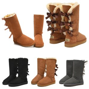 겨울 부츠 여성 여자 고전 스노우 부츠는 짧은 3 나비 모피 부팅 겨울 블랙 밤나무 여성 신발 패션 야외 크기 5-10 발목