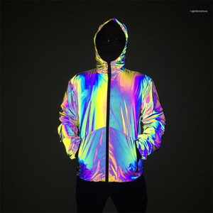 Coats Casual Mens Clothing Autumn Winter Mens Night Colorful Reflective hooded Jacket Gradient Color Zipper Hooded Hip Hop Style
