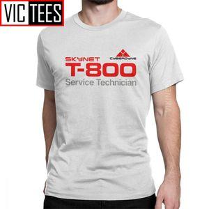 T-800-Techniker-T-Shirt Männer Baumwolle Neuheit T-Shirt Crewneck Terminator Cyberdyne Cyborg Camisas Hombre Großhandel 200928