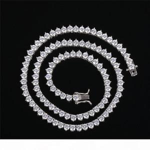 Les nouveaux hommes de hip hop bijoux collier chaîne de tennis 4MM 16inch-24inch or Real 18k chaîne diamant plaqué long collier avec bijoux hommes de zircons