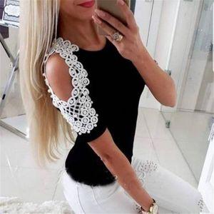 Summer 2020 New Women Cold Shoulder T Shirt Jacket Short Sleeve Leisure T Shirt White Halter Top