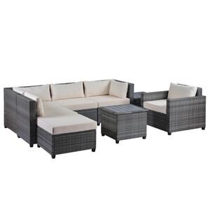 U_Style 8 قطعة القش الاقسام الجلوس المجموعة مع وسائد الباحة الأثاث في الهواء الطلق مجموعات الغصن الاقسام WY000067EAA