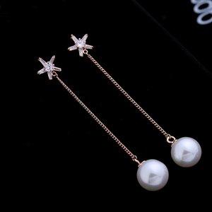 2020 new hot selling Korean tassel shiny zircon s925 silver needle earring temperament women pearl five-pointed star long earrings jewelry