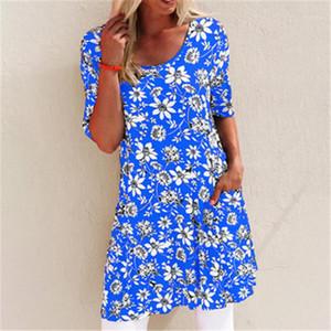 Kleid Designer Kleidung Rundhalsausschnitt-Mode-Sommer-Frau mit Blumenmustern Short-Hülsen-lose beiläufigen Kleid-Frauen Taschen-Blumen