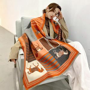 2020 Luxo Quente Cashmere Scarf Mulheres Winter xales e Wraps Horse Design Imprimir Lenços Blanket Bufanda grossas