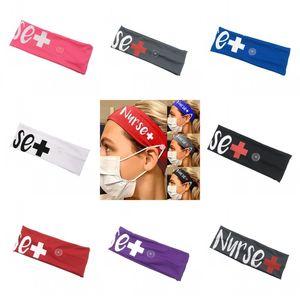 Krankenschwester Hair Scrunchies Mask Knopf Elastic Bandeau Haare Krawatten Mode-Stirnband-Haar-Zusätze Kinder Damen Yoga Sports 4 77jy C2