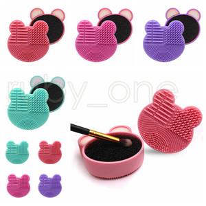 Maquillage Brosses de nettoyage Brosse de lavage silicone Pad Gel Nettoyant Scrubber éponge Tapis cosmétiques Fondation brosse de nettoyage Make Up Tool RRA3476