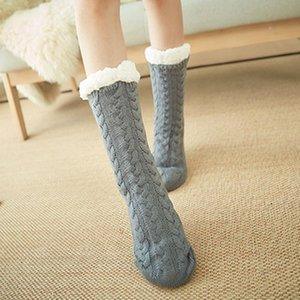 Morbido spessore caldo del fiocco di neve Slipper Socks Knit di inverno pile incinta Donna Uomo Home Office calzini XRQ88