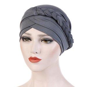 2020 Hüte Mützen Frauen gestrickte Bördeln Indien Hat Muslim Ruffle Cancer Chemo Turban Wrap Cap Fischer Mütze für Damen