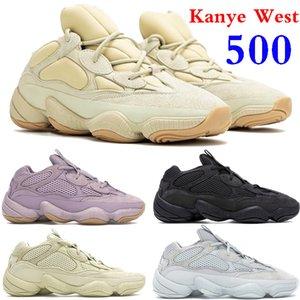 사막 쥐 500 개 실행 신발 카니 예 웨스트 (Kanye West) 반사 스톤 뼈 화이트 유틸리티 블랙 소프트 비전 블러쉬 소금 슈퍼 문 노란색 운동화 상자와