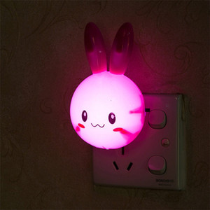 Cartoon Rabbit LED Night Light AC110-220V Switch Wall Night Lamp With US Plug Gifts For Kid Baby Children Bedroom Bedside Lamp