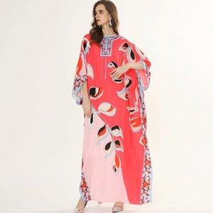 Pista 2020 abiti delle donne O Collo dei manicotti del Batwing stampata floreale allentato design elegante Maxi lunghi casuali Abiti Robes