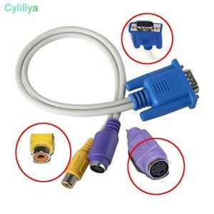 Cgjxs18cm Mais recente VGA Masculino Para Tv S-Video Rca Av Converter adaptador de cabo de trabalho com laptops e desktops (HL)