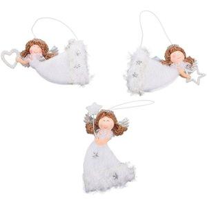 3шт Cute Angel Куклы Рождественских кулон Симпатичная форма сердца Летающий ангел Плюшевый Висячий Xmas Tree Innovative украшение для дома