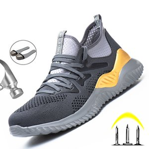 Breathable Light Work Sneakers Comfort Men Shoes Puncture-Proof Safety Shoes Men Outdoor Work Indestructible Footwear 2020