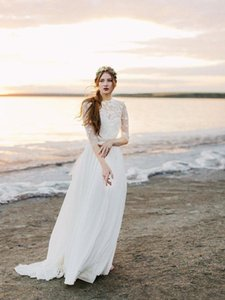 Boho Beach Wedding Dresses Chiffon A Line Jewel Neck Lace Appliques Bohemian Country Bridal Gowns Long Sleeve Robes De Mariee L25