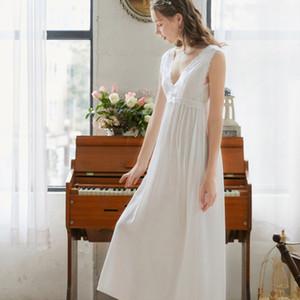 2020 desgaste sin mangas atractivo del sueño Noche algodón camisón camisón de encaje vestido de la vendimia Blanco Azul Rosa ropa de noche de las mujeres Nightshirt