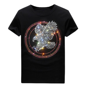 Mens strass lucido maglietta per l'estate - girocollo Casual Top corto Slim Fit T-shirt di cotone mercerizzato