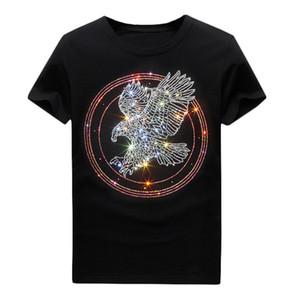 Мужское Rhinestone Блестящей футболка лето - Crew Neck Повседневных топов Короткой Slim Fit футболка Мерсеризованного Хлопок