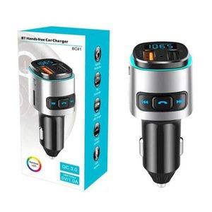 BC41 Car MP3 player FM transmissor jogador U disco / TF cartão de música Bluetooth receptor mãos-livres carregador de carro QC3.0 chamado USB