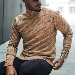 Mens Entwerfer-hohe Kragen gestreiftes Unterhemd lange Hülsen-dünne Baumwollmischung Tops Mode-Herbst-Winter Homme Tees