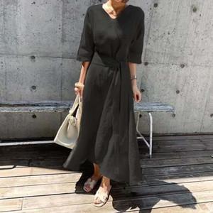 ropa de la falda del vestido eZO5R francesa algodón y lino vestido de 2020 nuevo algodón temperamento verano de las mujeres y cintura ajustada con cordones falda delgada