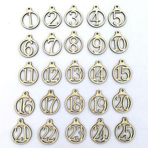 25 Christmas Calendar Anzahl Etikett 25.01 Holz Countdown Adventskalender Gift Box Label-Familientreffen Weihnachtsdeko