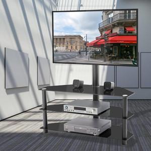 US STOCK, TV multi-fonction Noir Support à hauteur réglable Support pivotant à 3 niveaux Accueil Meubles Salon W24105047