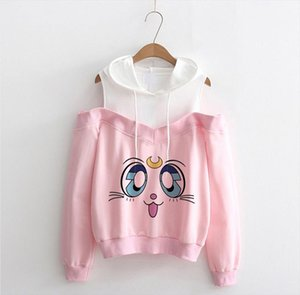 New Sailor Moon Hoodie Kawaii Clothes Tops Women Hoodie Harajuku Sailor Moon Cat Shirt Off shoulder sweatshirt Femme Girls Woman