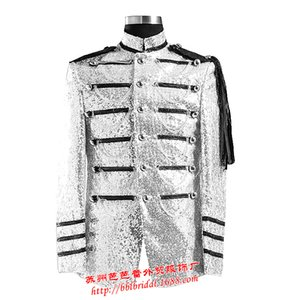Silver sequined suit costume Mens shoulder general European style palace nightclub singer host male dress