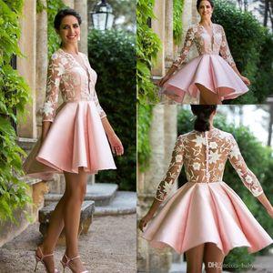 Pink Satin Short Homecoming Dresses 3 4 Sleeves Lace A Line Sheer V Neck Appliqued Pleats Cocktial Party Dresses robes de cockta