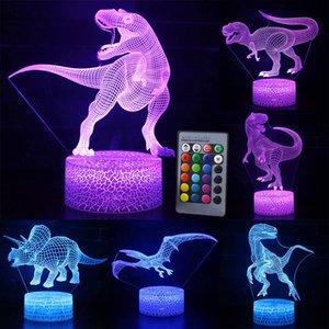 çocuk Ev Dekorasyon için 3D LED Gece Işığı Lambası Dinozor Serisi 16 Renk 3D Gece ışık Uzaktan Kumanda Masa Lambaları Oyuncak Hediye