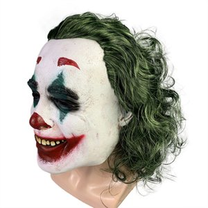 2020 clown mask horror mancha Joker máscara de látex halloween hood natal máscara do disfarce com cabelo
