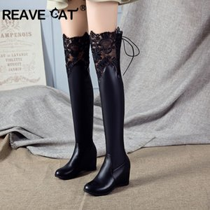 REAVE CAT Over-knee Boots for Women Round Toe Stripe Wedge heel Slip-on Lace Decoration PU&Flock Big Size 12 43 White Black
