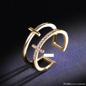여성 파티 참여 파인 링 액세서리 더블 레이어 밴드 반지 아이스 아웃 다이아몬드 18K 골드 럭셔리 관대 우아한 디자이너 보석