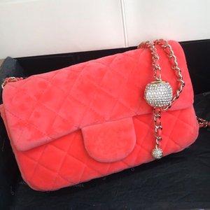Frauen Umhängetasche Bag Messenger Bag Handtasche Geldbeutel-Bohrgerät-Korn-Samt-Schaffell-Echtleder-Qualitäts-Haspe Strass Freies Verschiffen Wallets
