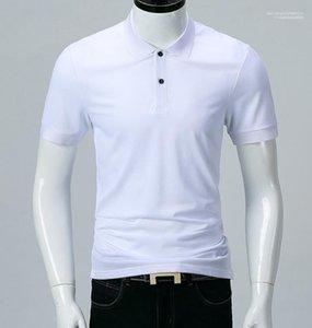 أبيض أسود بدوره إلى أسفل الياقة الأزياء ALL MATCH بولو شيرت بأكمام قصيرة الكلاسيكية الرجال بولو الصيف الصلبة