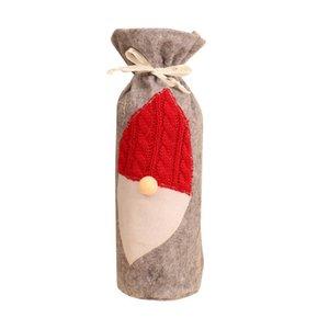 Vinho do Natal Bottle Capa roupa de Papai Noel vestido Xmas Wine Bag Natal Mesa de Jantar Decoração criativa garrafa Tampa 100pcs T1I2340